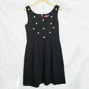 Betsey Johnson black fit and flair pearl dress 6
